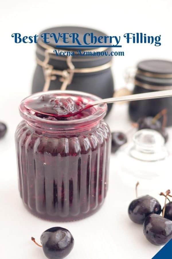 Pinterest image for cherry fruit filling.