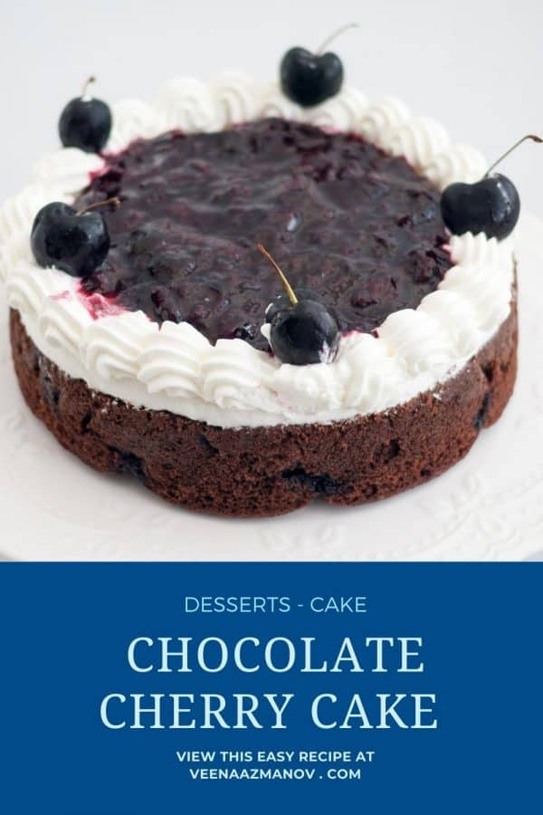 Pinterest image for chocolate cherry cake.
