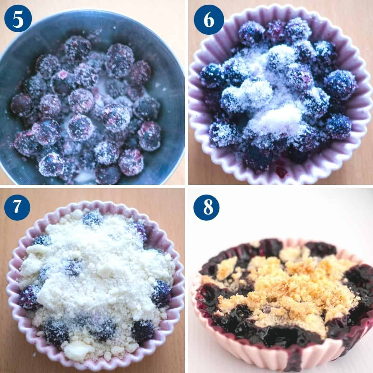 Progress pictures collage for blackberry crumble.