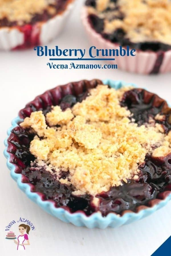 Pinterest image - Fruit Crumble with Blueberries.