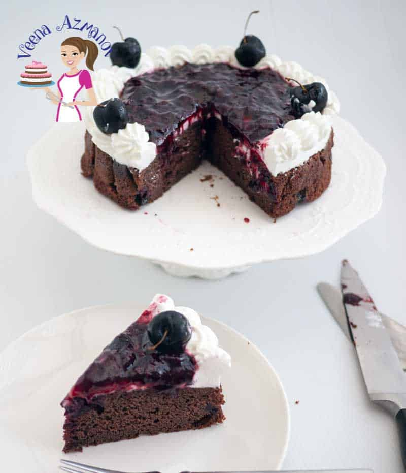 Chocolate Cake with Fresh Cherries, Cherry Filling and Whipped Cream, Black Forrest Coffee Cake