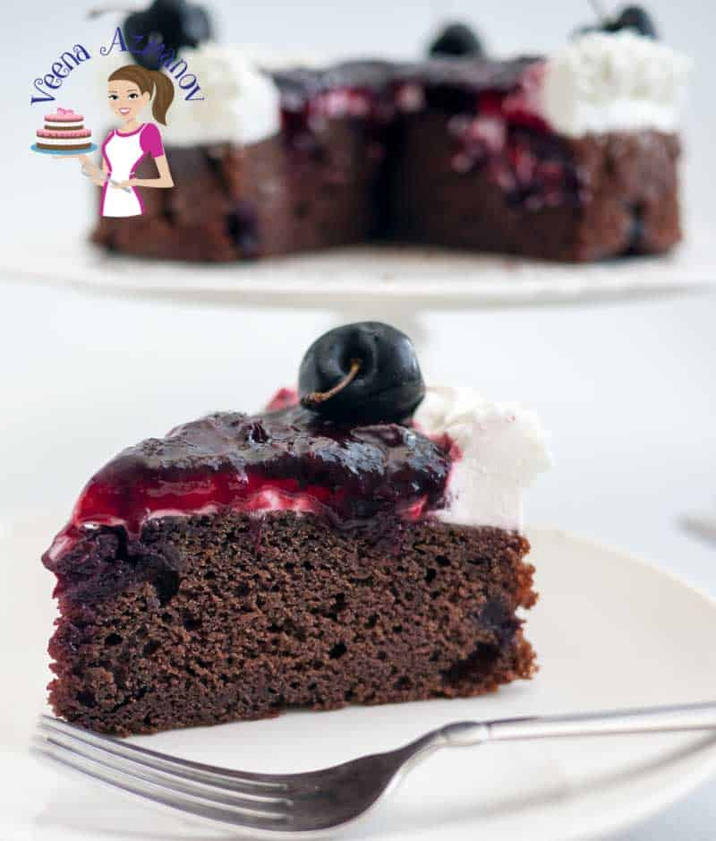 An image optimized for social sharing for this moist chocolate cherry cake made with fresh cherries in summer. A perfect cake for anyone that loves chocolate and cherries.