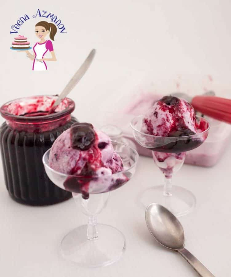Two glasses of cherry ice cream.