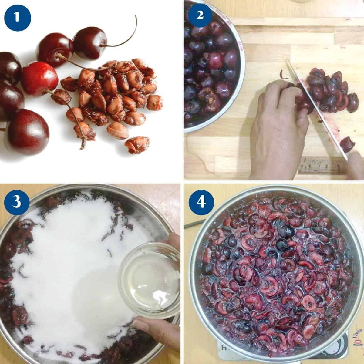Progress pictures for cherry jam without pectin.