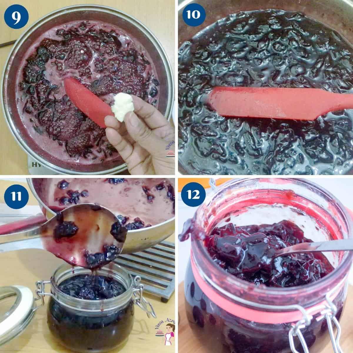 Progress pictures for cherry jam with no pectin.