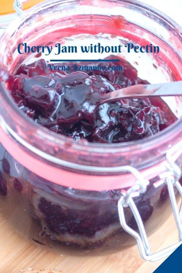 Pinterest image for cherry jam.