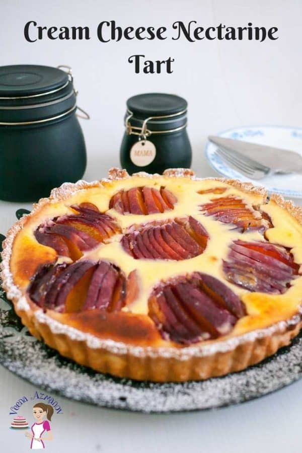 A nectarine tart on a plate.