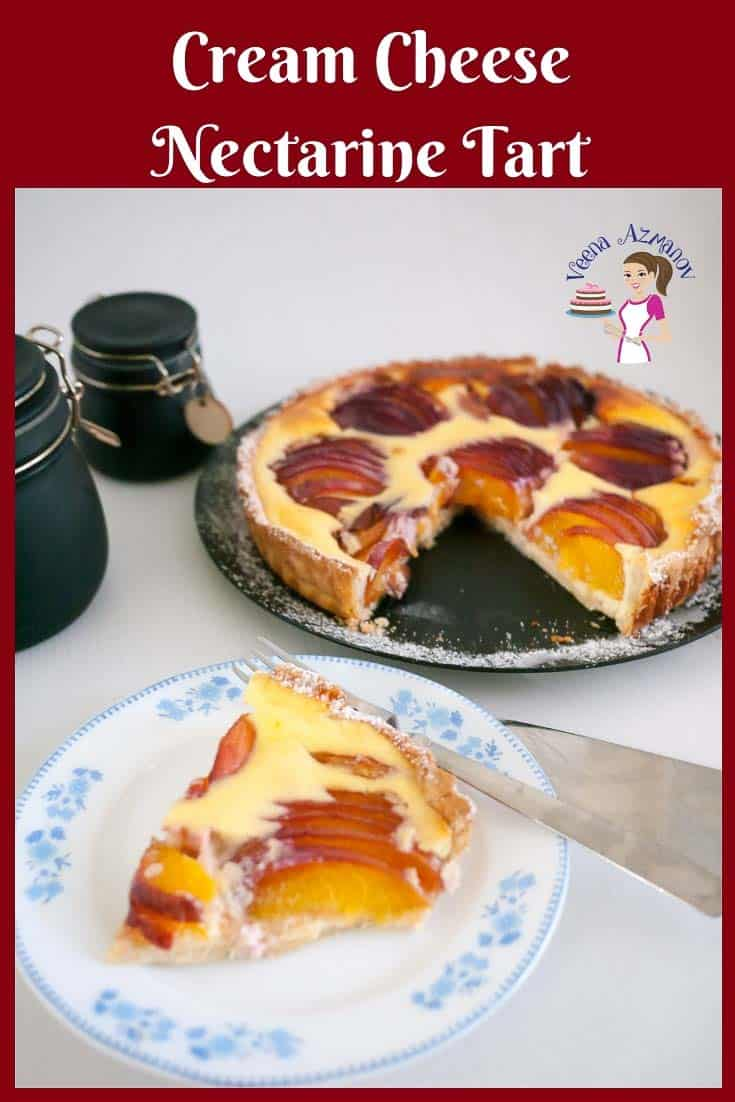 A slice of nectarine tart on a plate.