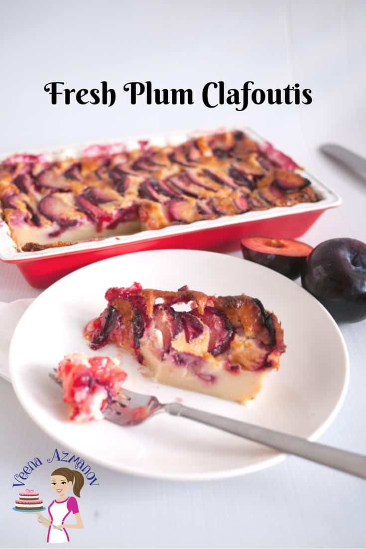 French Dessert Clafoutis with Fresh Plums is a custard-based dessert