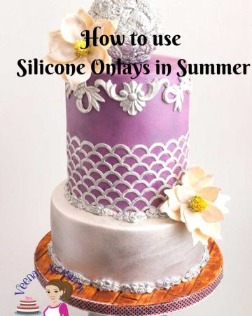 A cake decorated using silicon onlays.