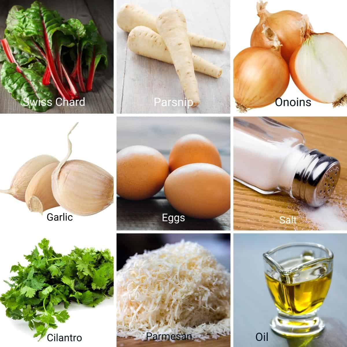 Ingredients needed for Swiss Chard Patties.