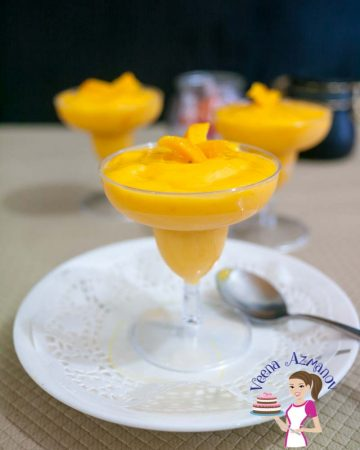 Mango mousse in a glass.