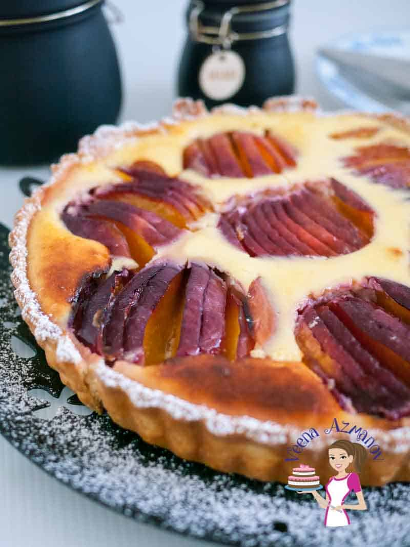 Summer brings in some delicious nectarines that are soft, sweet yet tart with a pretty orange color flesh on the inside. This nectarine cream cheese tart takes this fruit to it's ultimate luxury but still keeping it creamy, sweet, tangy and fruity. via veenaazmanov.com