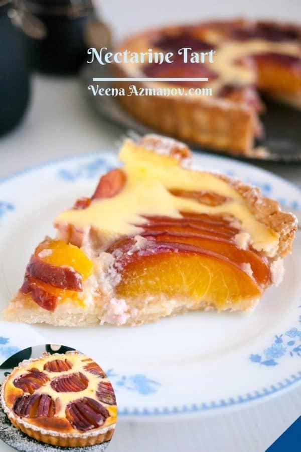 Pinterest image for cream cheese nectarine tart.