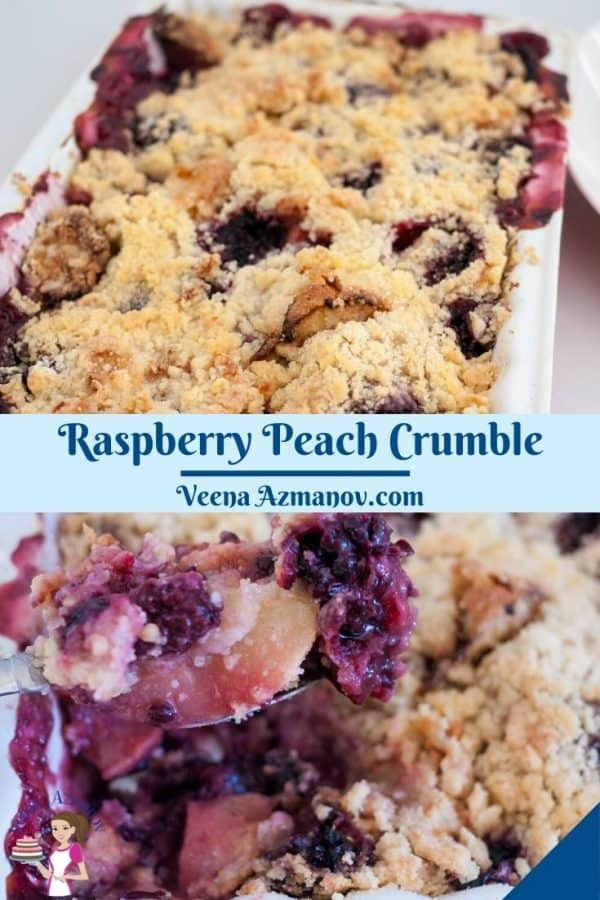 Pinterest image for peach fruit crumble.