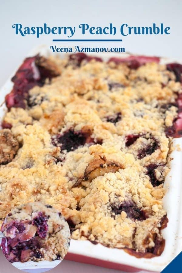 Pinterest image for fruit crumble.