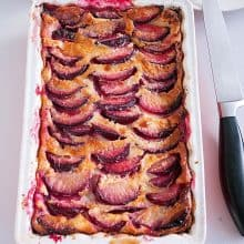 A baking dish with clafoutis.