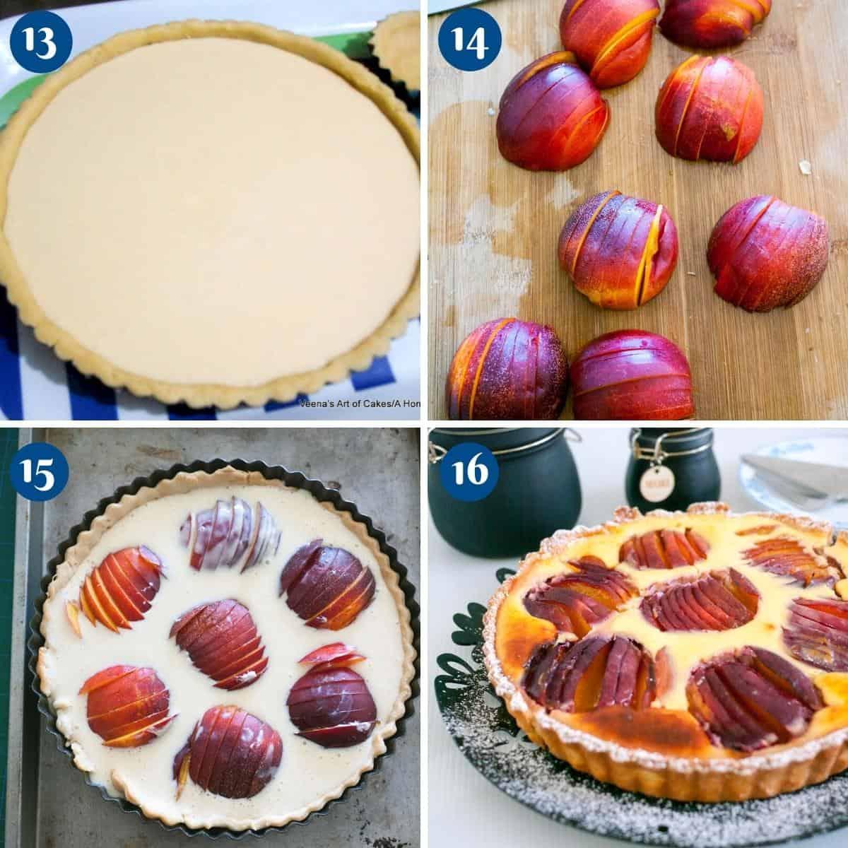 Progress pictures baking the nectarine tart.