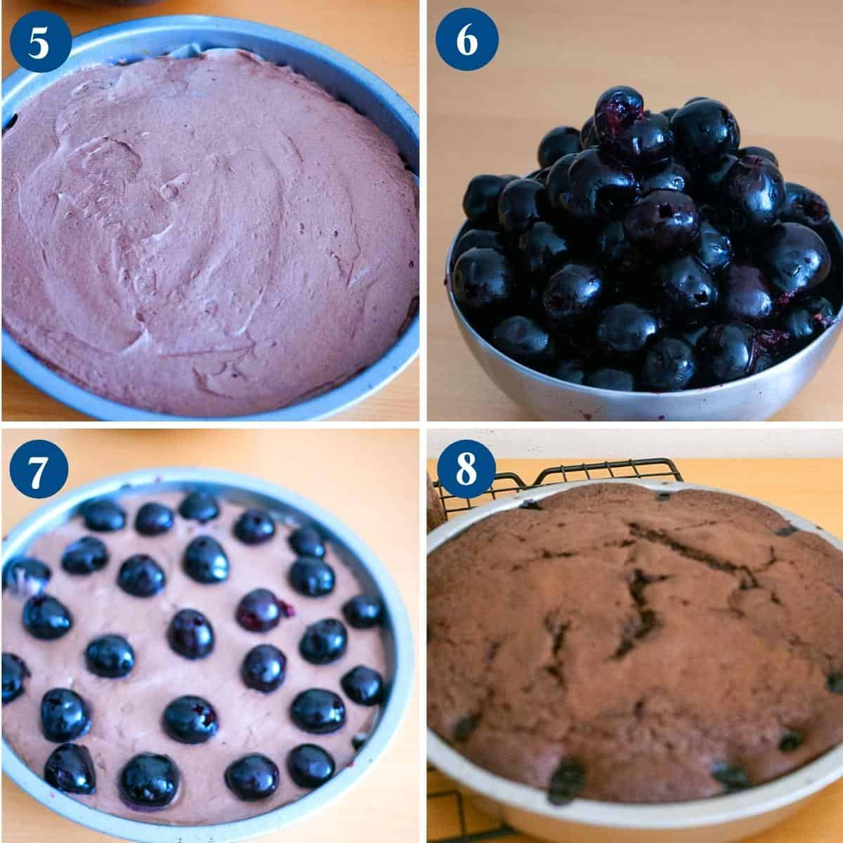 Progress pictures collage for chocolate cake with cherries.