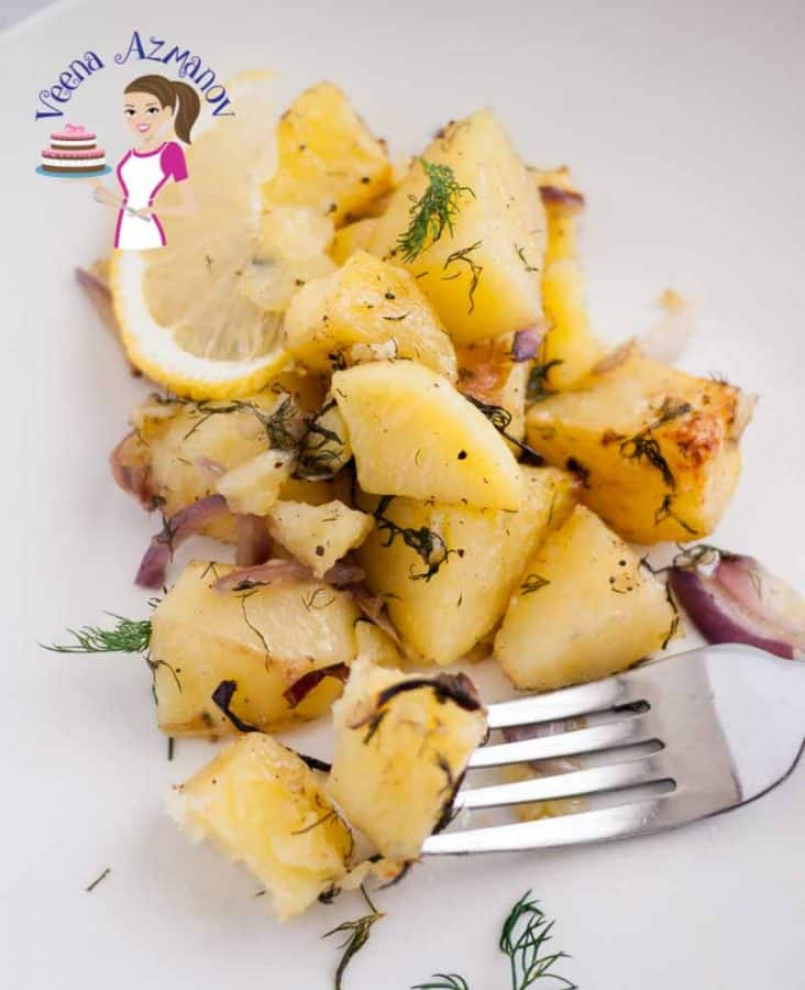 The roast lemon dill potatoes make a great appetizer or side dish for any meal. The sweetness of the red onion, the tart lemon flavor and the fresh dill perfume the potatoes beautifully. Pairs perfectly with any meat dish such as lamb, beef or even turkey,chicken and fish.