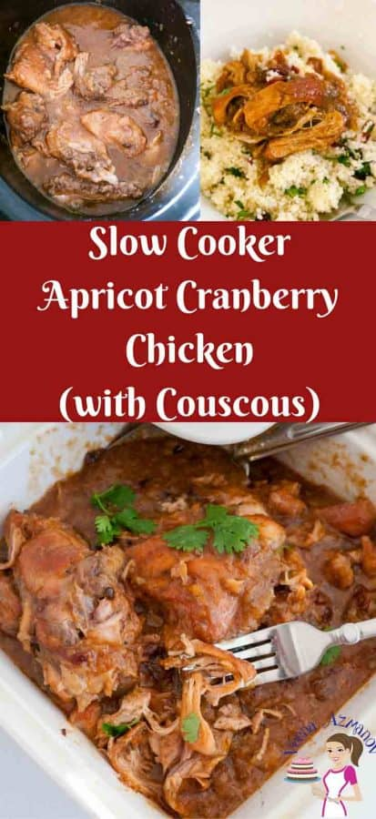 Crockpot Cranberry Chicken or Slow Cooker Apricot Cranberry Chicken with couscous with Mediterranean flavors