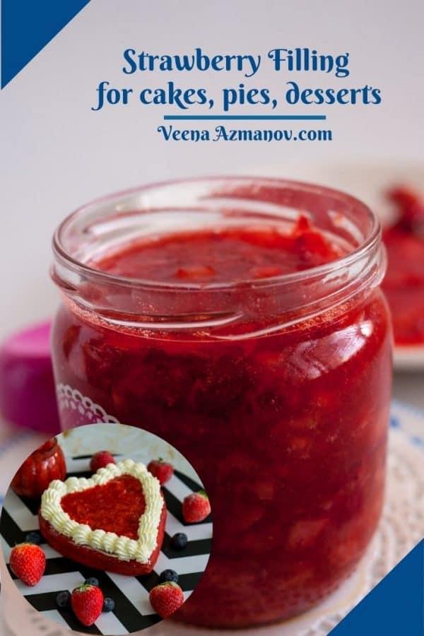 Fruit filling in a mason jar Pinterest image.