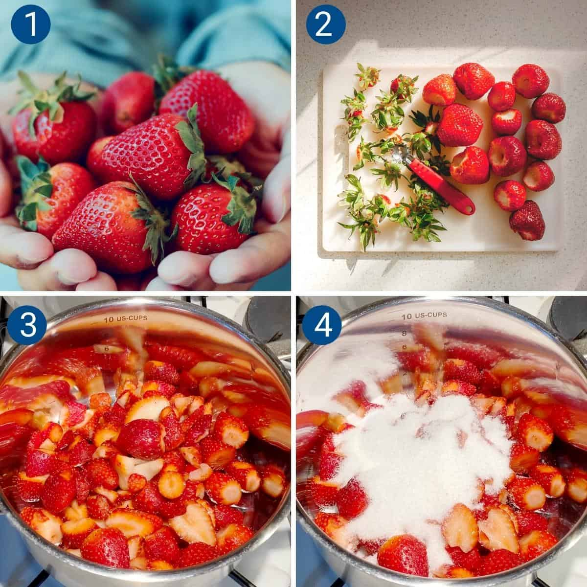 Progress pictures collage for making strawberry filling.