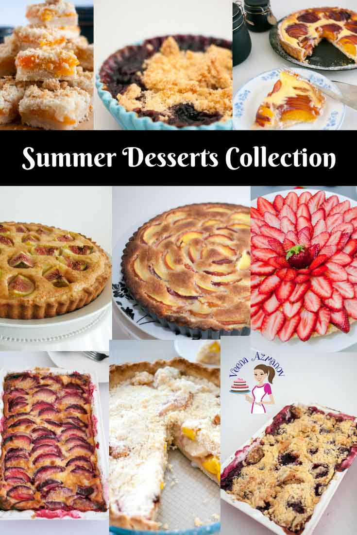 A Collection of summer desserts, apricot crumble, blueberry crumble, nectarine cream cheese tart, Nectarine Frangipani tart, fig tar, strawberry tart, peach raspberry tar, peach tart with crumble topping, blackberry clafoutis, plum clafoutis