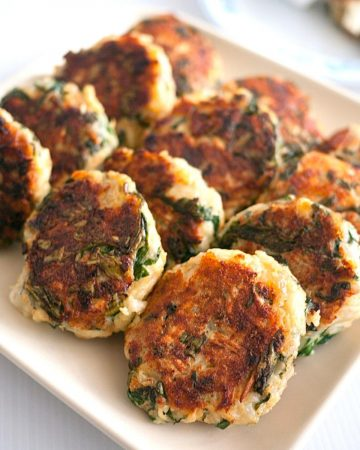 A plate with patties made with Swiss chard.