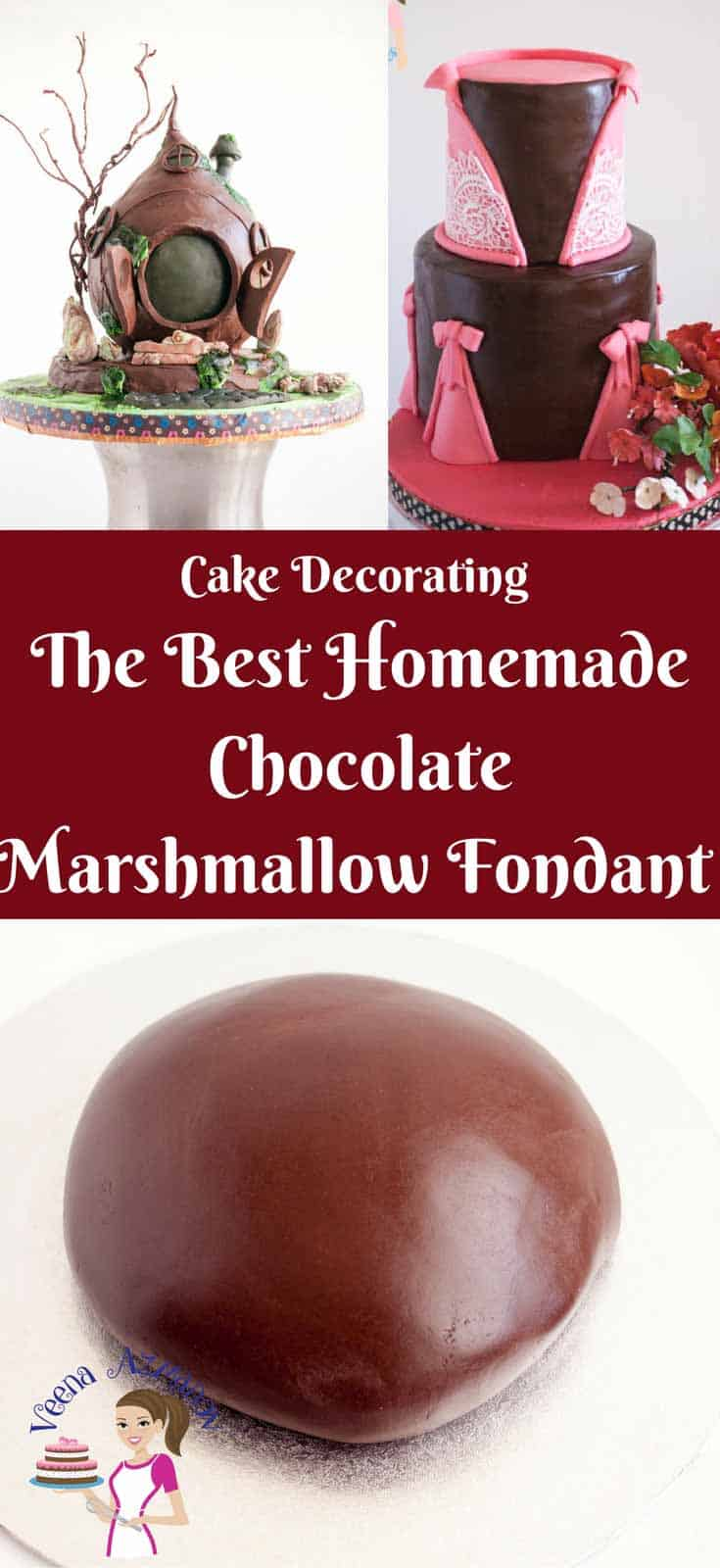 This homemade chocolate marshmallow fondant or Marshmallow Chocolate Fondant is a delicious sugar paste recipe with the taste of marshmallow and chocolate.  Made with real chocolate and cocoa powder for that rich chocolate taste. Weather you cover a cake, cookies or cupcakes this fondant is fun easy and quick to prepare