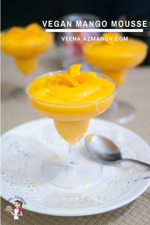 Homemade Vegan Mousse made with mangoes and coconut cream