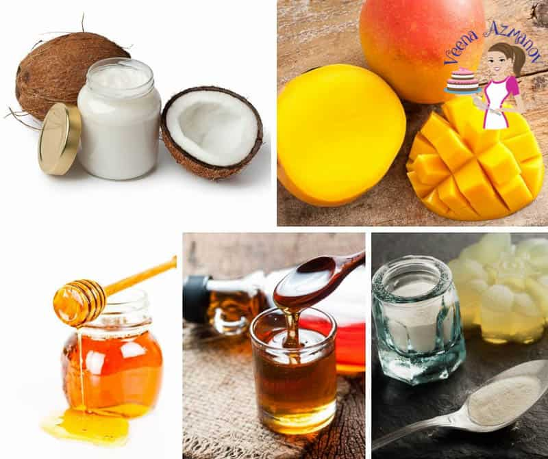 A collage of the ingredients to making vegan mango mousse.
