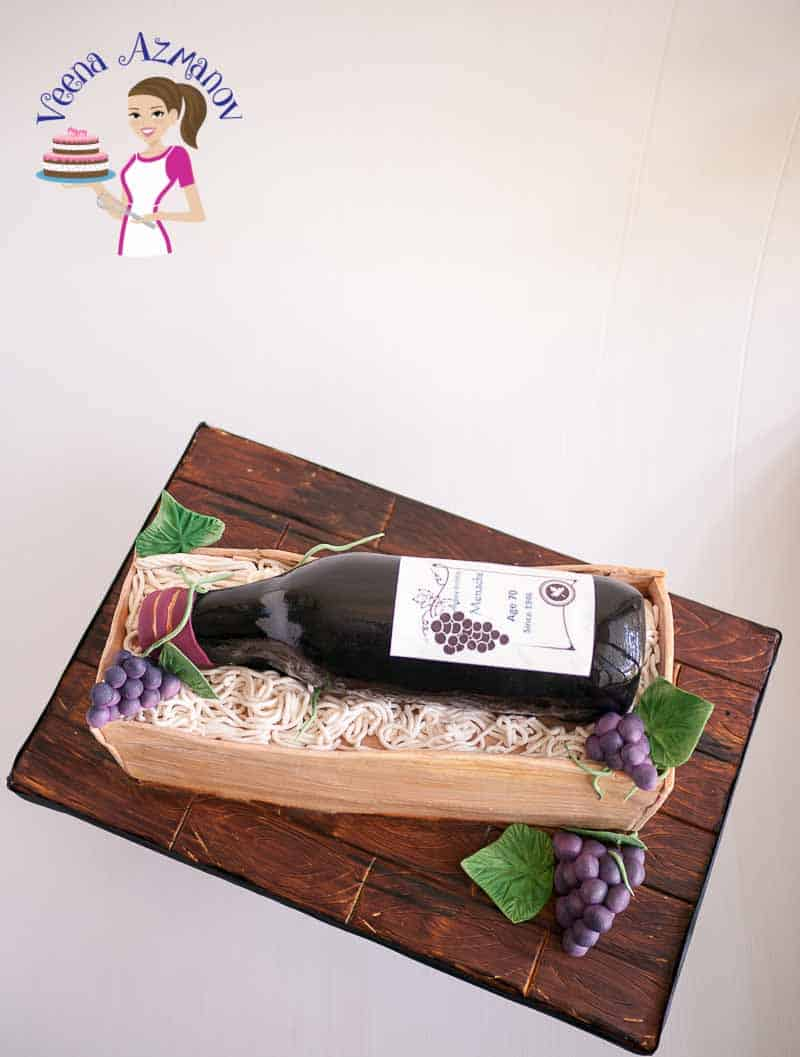 Novelty Cake Tutorial, Cake Decorating, Wine Bottle, Crate, fondant grapes and vine leaves