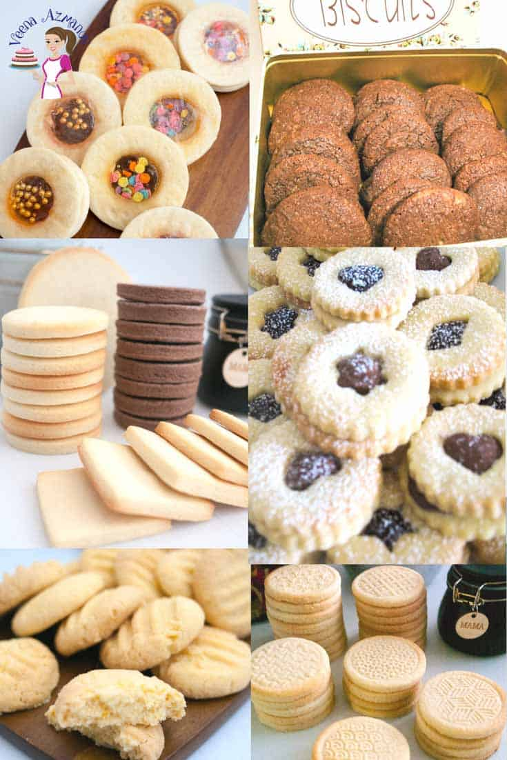 A collection of cookie recipes by Veena Azmanov try simple vanilla sugar cookies or crisp shortbread cookie or melt int the mouth chocolate chip cookies.