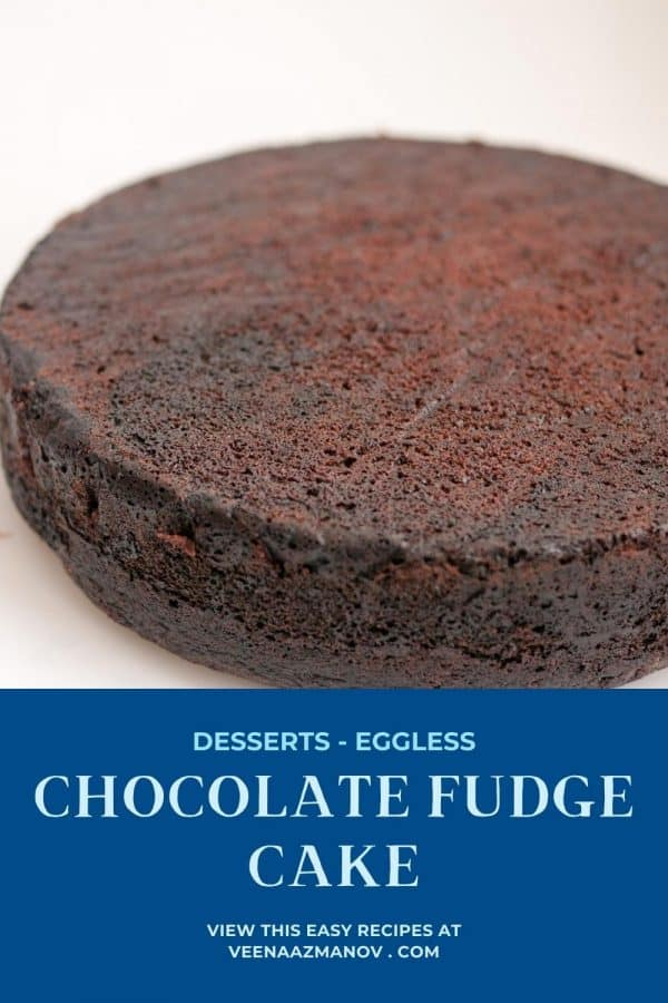 Pinterest image for chocolate cake, eggless.