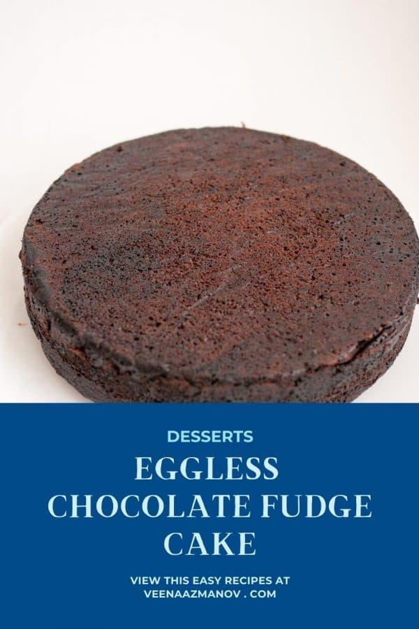 Pinterest image for chocolate cake eggless.
