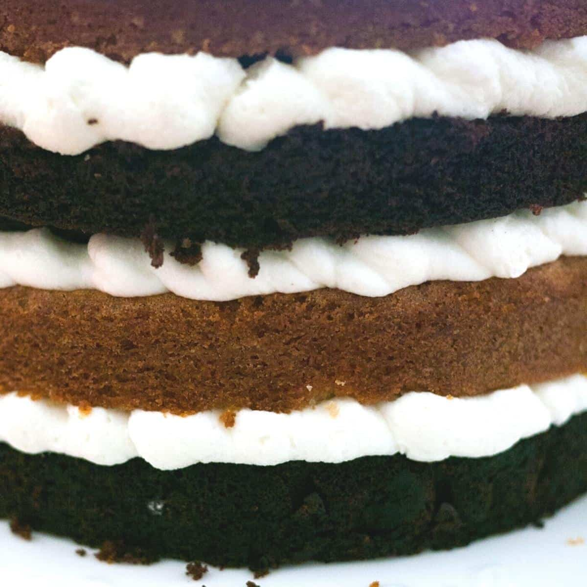 A stack of eggless vanilla and chocolate cake.