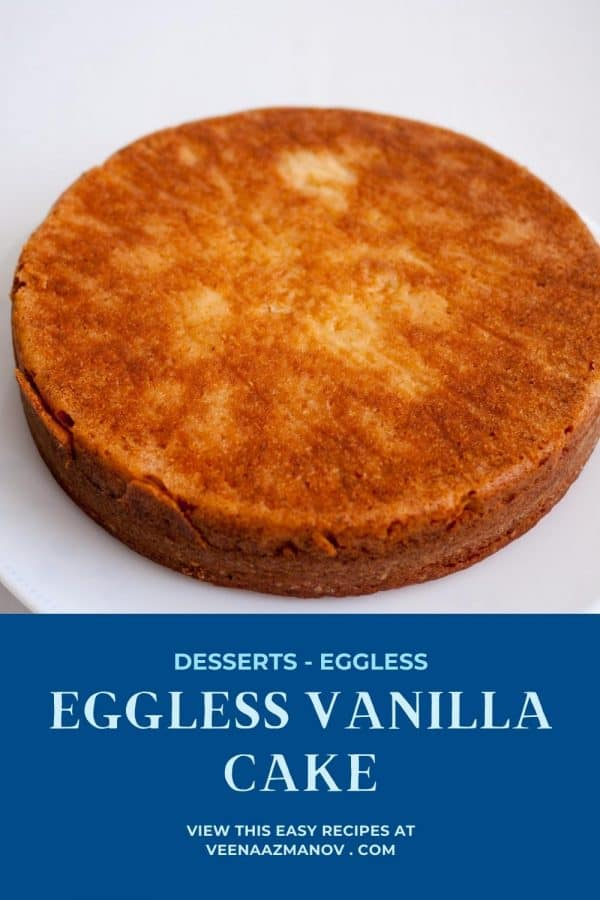 Pinterest image for eggless vanilla cake.