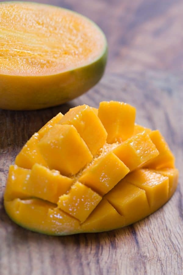 A slice of cut fresh mango