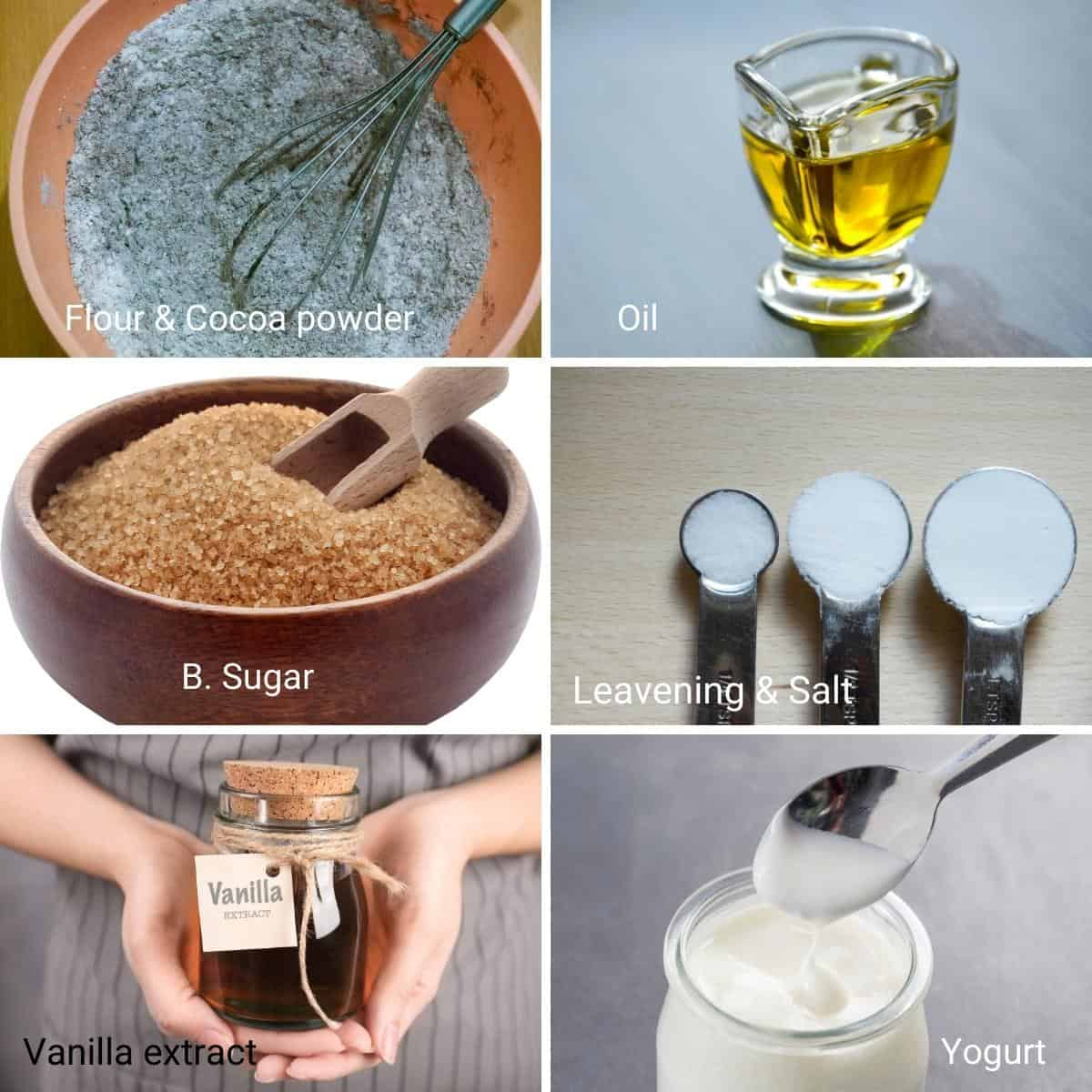 Ingredients for chocolate cake, eggless.