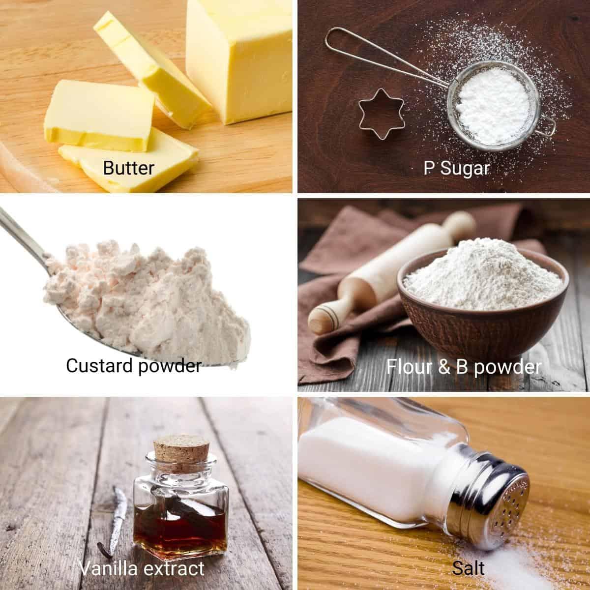 Ingredients for making custard cookies.