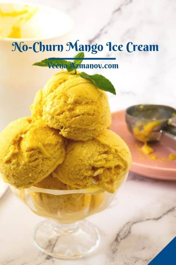 Pinterest image for mango ice cream.