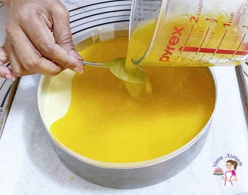 Assemble the mango mousse dessert cake entremets