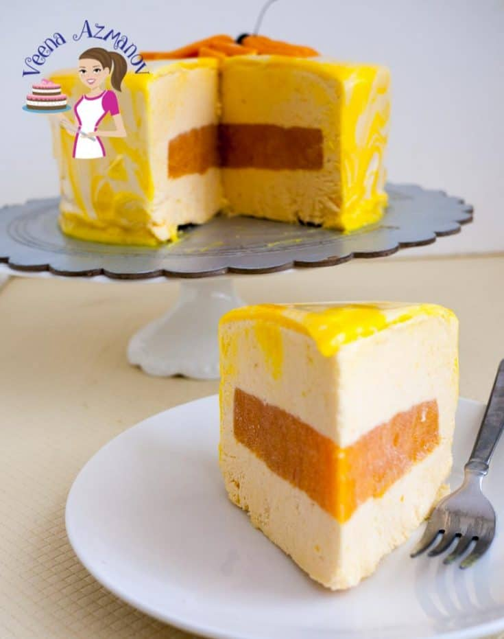 Mango Mousse Cake with Mango Jello Insert and Mirror Glaze