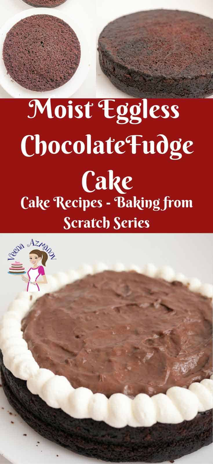 This moist eggless chocolate fudge cake has a firm texture with soft crumb that melts in the mouth. Simple and easy to make and so versatile with so many flavor variations. Try it with rich buttercream frosting, light whipped cream or fill it with an indulgent chocolate mousse filling like I have. via veenaazmanvo.com