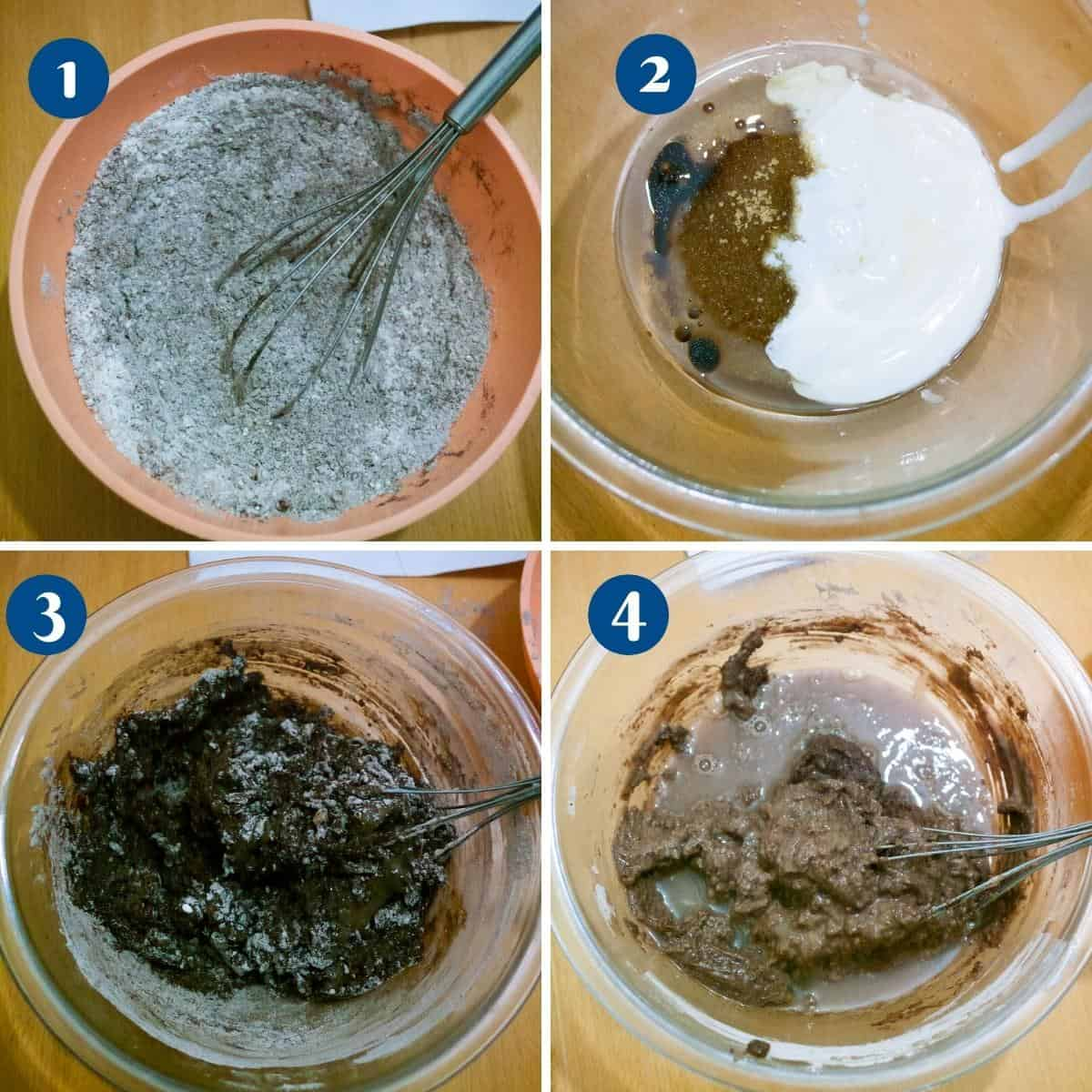 Progress pictures collage for chocolate cake eggless.