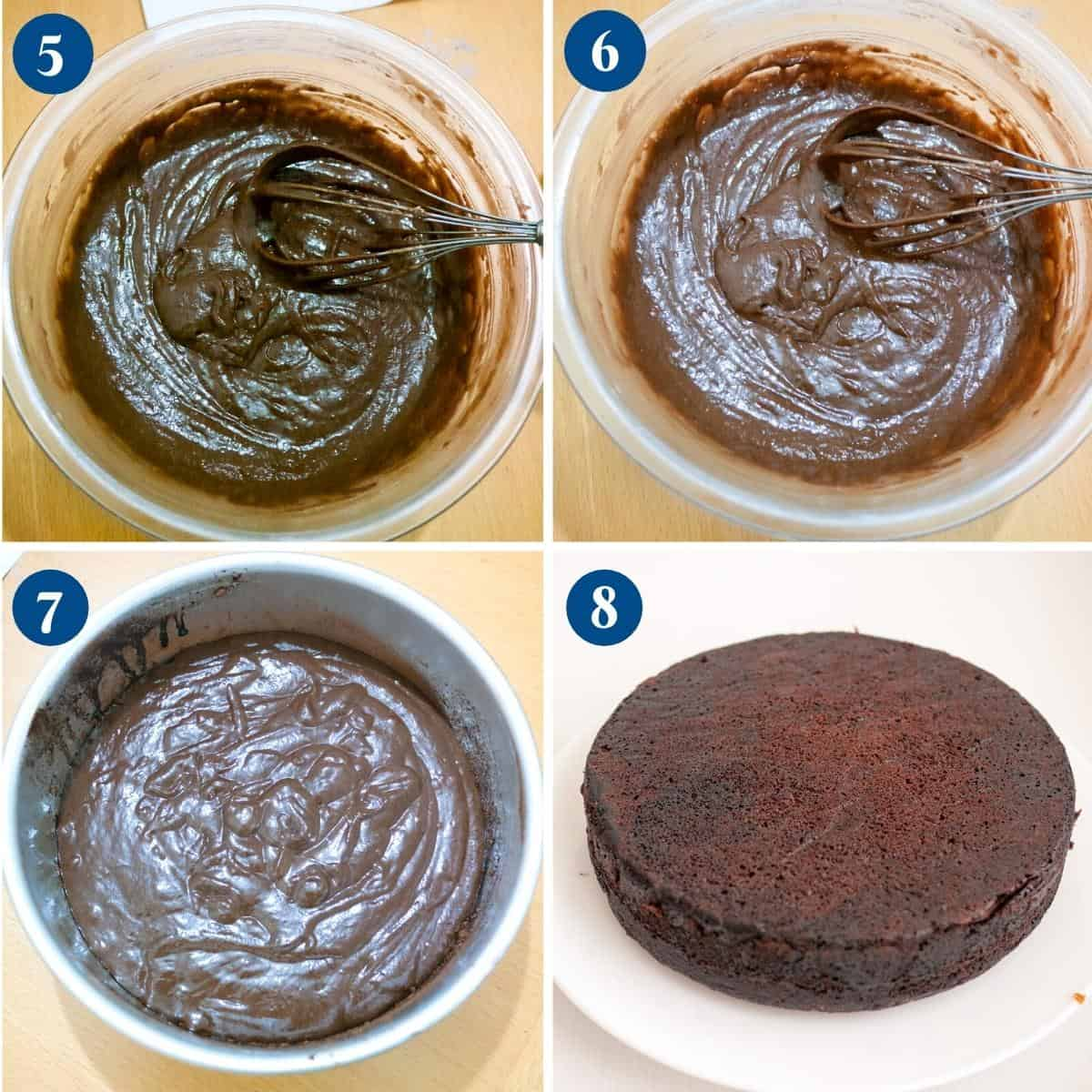 Progress pictures collage for eggless chocolate cake.