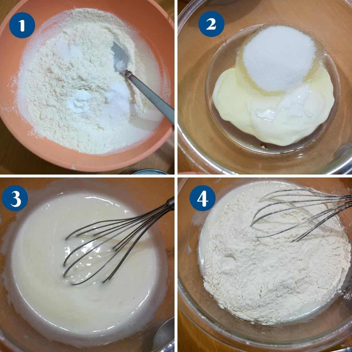 Progress pictures collage for vanilla cake eggless recipe.