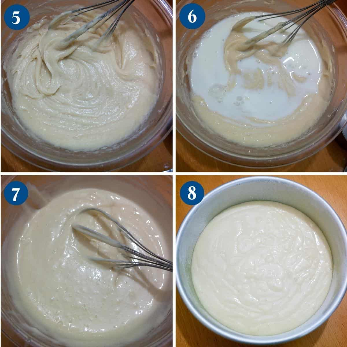 Progress pictures collage for vanilla cake, eggless recipe.
