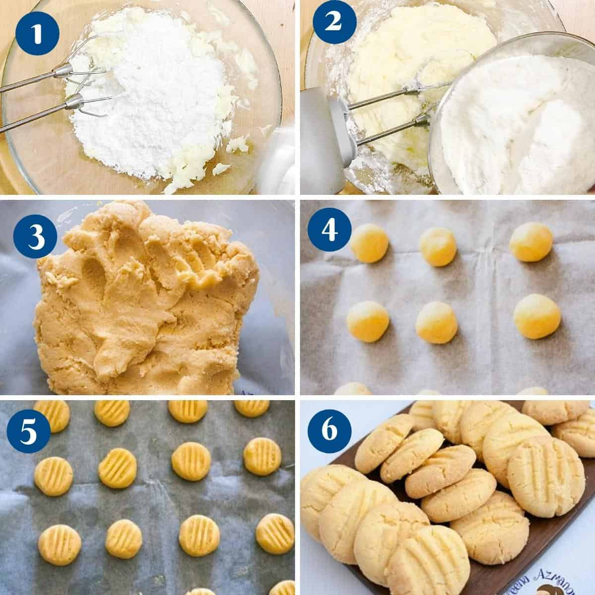 Progress pictures collage making custard cookies.